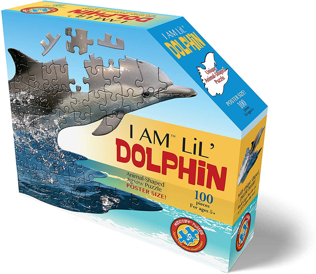I AM Lil' Dolphin - 100 Pieces - Animal Shaped Jigsaw Puzzle