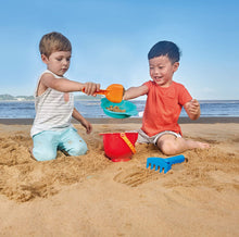 Load image into Gallery viewer, Hape Beach Basics Sand Toy Set Including Bucket Sifter, Rake, and Shovel Toys, Multicolor by Hape