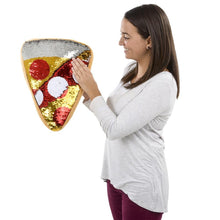 "Load image into Gallery viewer, 16"" Plush Flip Sequin Pizza Pillow"