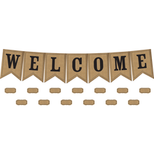 Load image into Gallery viewer, Burlap Pennants Welcome Bulletin Board Display TCR5828