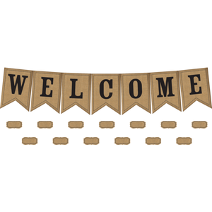Burlap Pennants Welcome Bulletin Board Display TCR5828