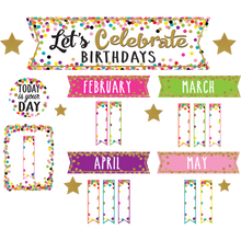 Load image into Gallery viewer, Confetti Let's Celebrate Birthdays Mini Bulletin Boar