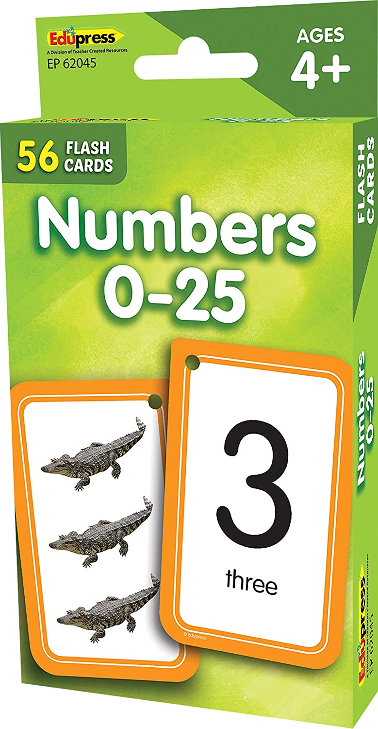 Numbers 0–25 Flash Cards