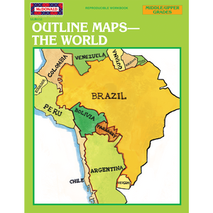 Outline Maps: The World Reproducible Workbook TCRR658