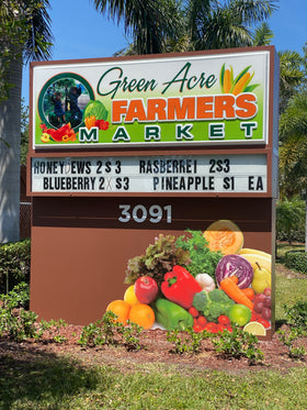 Green acre farm sign