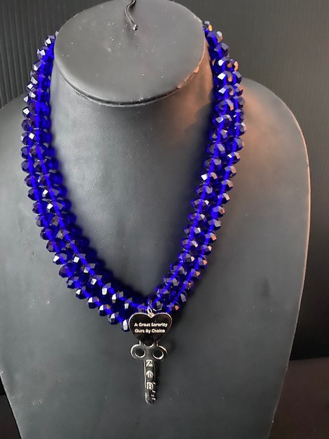 A Great Sorority - Royal Blue Crystal Necklace