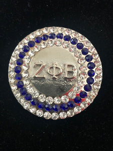 Royal Blue and White Crystal Lapel Pin