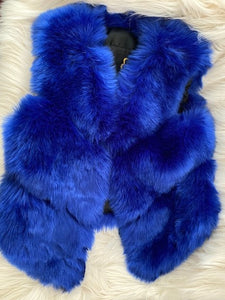 Royal Blue Fur Faux Vest