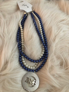 Royal Blue and White 3 Strand Pearl Necklace