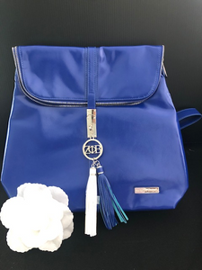 Royal Blue and White Tassel Backpack