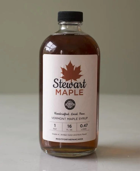 Certified Organic Maple Syrup in a One Pint Glass Jar
