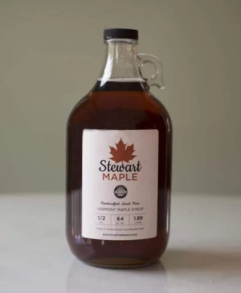 Certified Organic Maple Syrup in a One Half Gallon Glass Jar