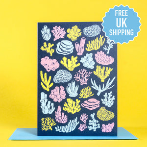 Coral pattern greetings card