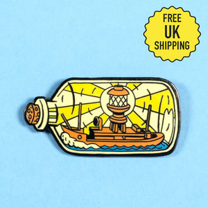 Lightship In A Bottle pin badge