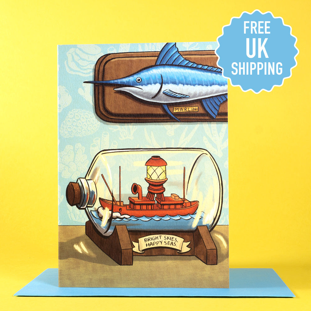 Lightship In A Bottle greetings card
