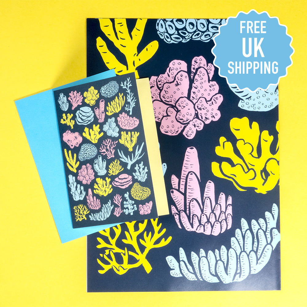 Coral pattern - card & giftwrap combo