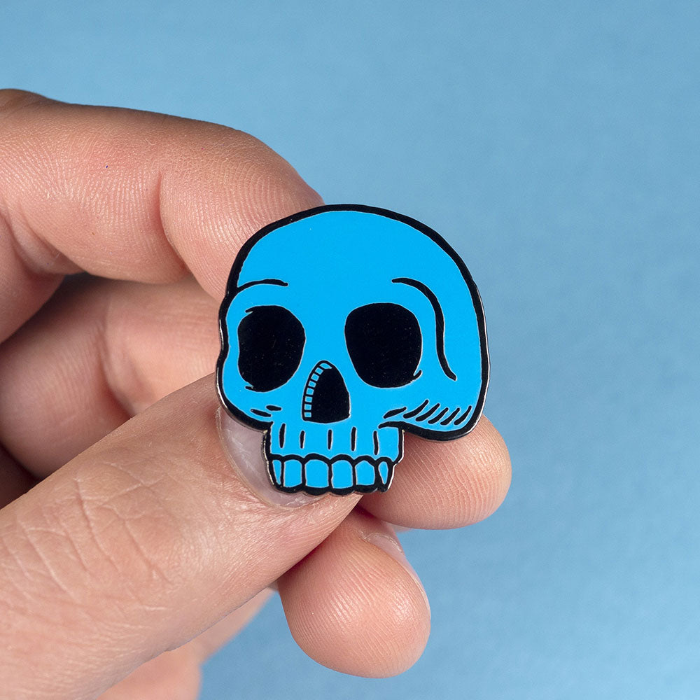 Blue Skull enamel pin badge