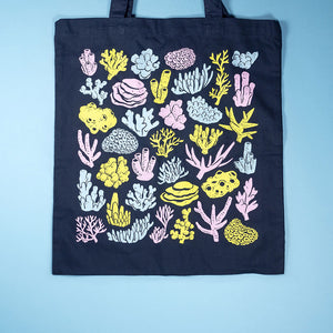 Coral screenprinted tote bag