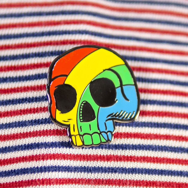 Pride Rainbow Skull pin badge