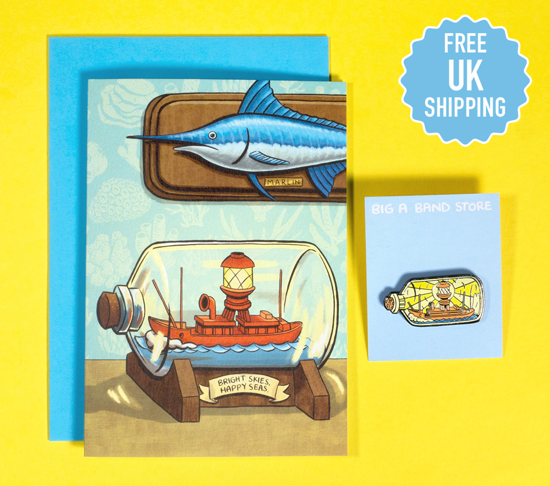 Lightship In A Bottle - card & badge combo