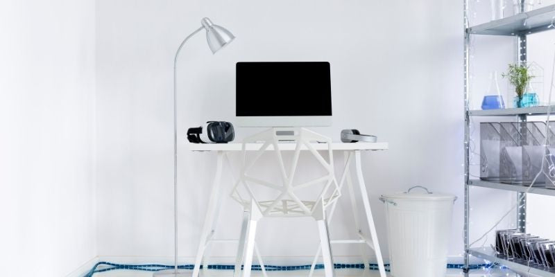 all white minimalist home office