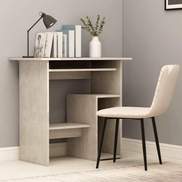 Concrete Gray Chipboard Computer Desk- HomeOffice4Us