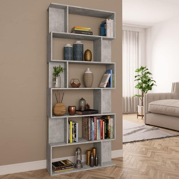 Concrete-Gray-Book-Cabinet-Room-Divider-Chipboard-HomeOffice4Us