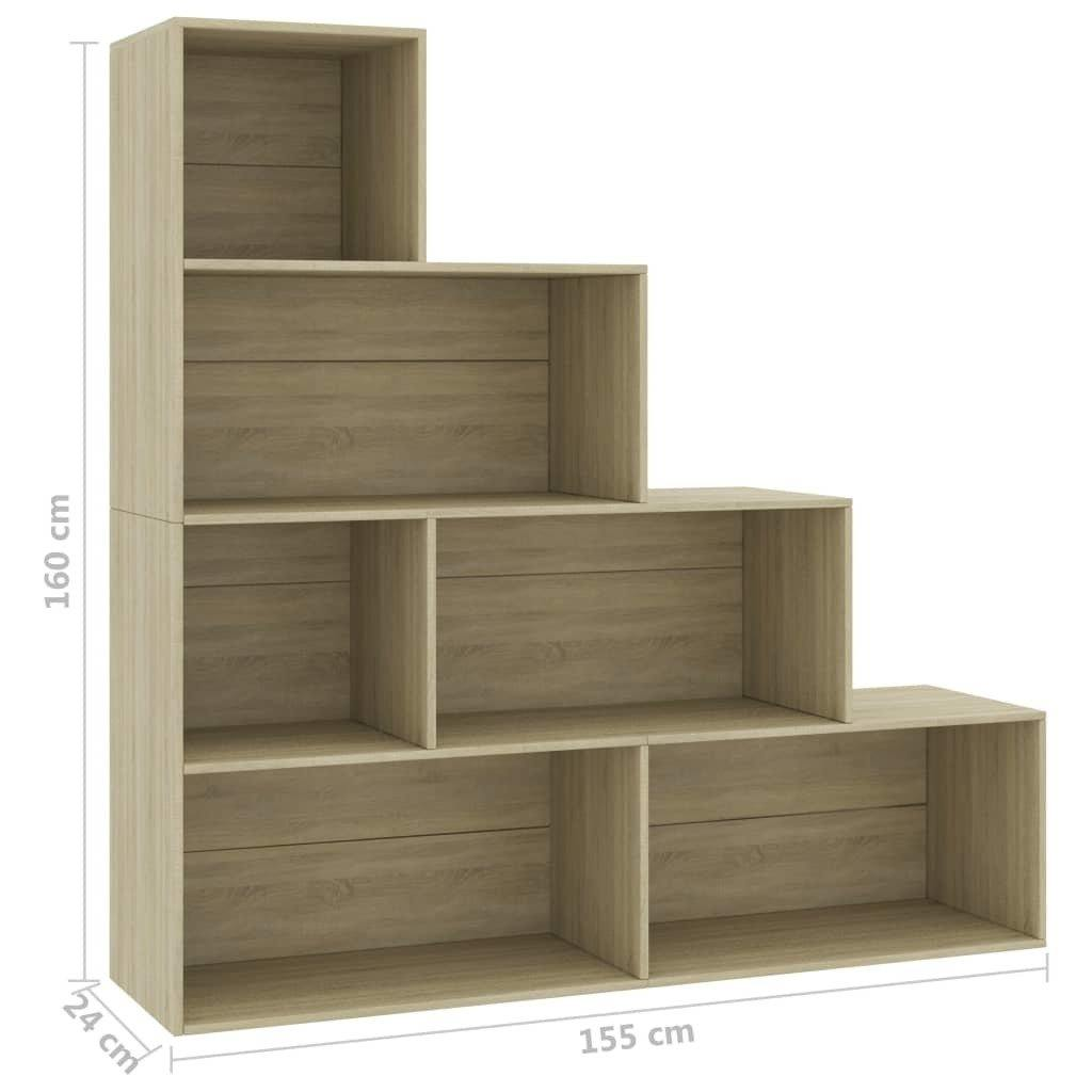 "Book Cabinet/Room Divider Sonoma Oak 61""x9.4""x63"" Chipboard - HomeOffice4Us"