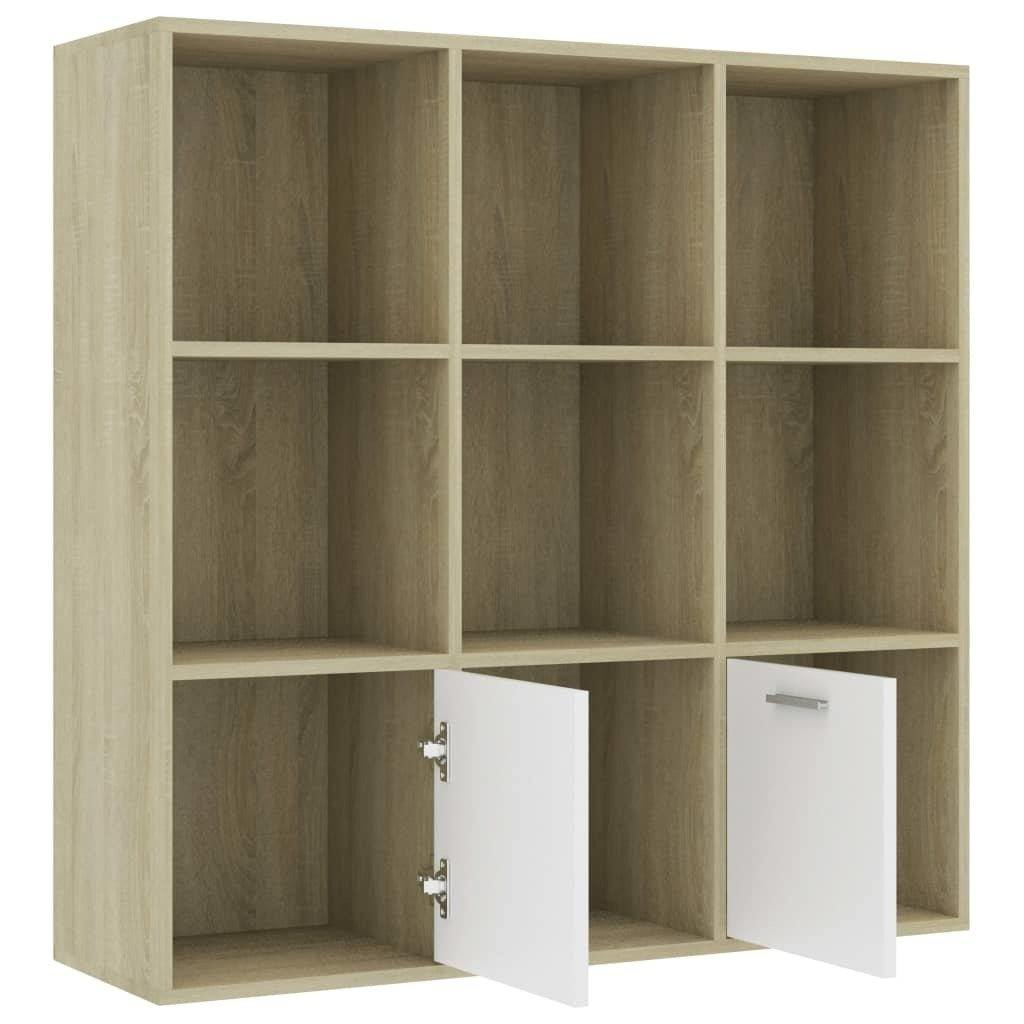 "Book Cabinet White and Sonoma Oak 38.5""x11.8""x38.5"" Chipboard - HomeOffice4Us"