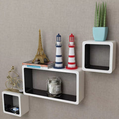 Display White-Black Floating Cubes Wall Shelf