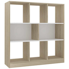 "Book Cabinet White and Sonoma Oak 38.4""x11.6""x39.4"" Chipboard - HomeOffice4Us"