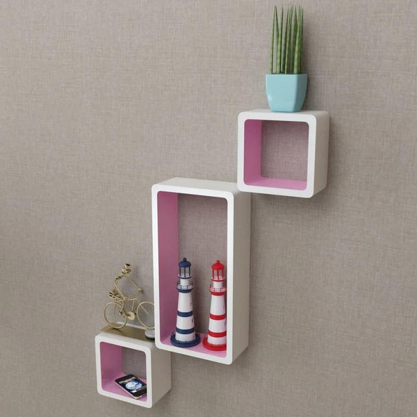 White and Pink Wall Cube Shelves Set