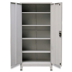 Gray Steel Office Cabinet with 2 Doors