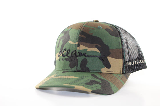 "RICHARDSON 112 WITH ""OCEAN SURF SHOP"" (camo with black vent) HAT"
