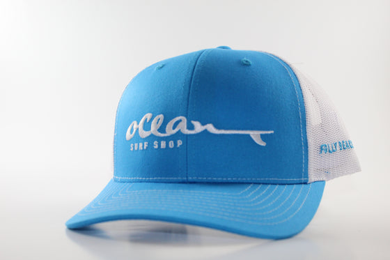 "RICHARDSON 112 WITH ""OCEAN SURF SHOP"" (Aqua blue with white) HAT"