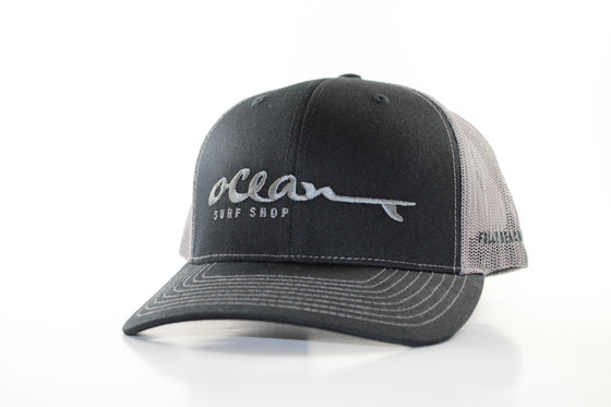 "RICHARDSON 112 WITH ""OCEAN SURF SHOP"" (black w/ grey) HAT"
