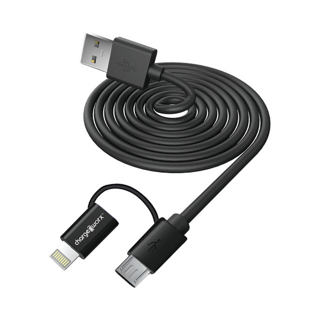 Charge Worx Dual Tip Cable (Charge, Sync, Lightning, MicroUSB)