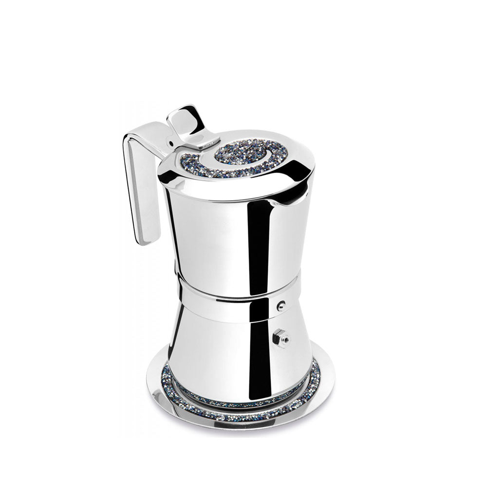 Giannini Giannina Limited Edition Induction Coffee Maker 3/1 cups Blue Crystals