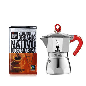 Load image into Gallery viewer, Bialetti Moka Dama for 3 Cups + Nativo Ground Coffee 250g kit