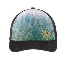 Load image into Gallery viewer, Quarantees signature Q in metallic gold on a unique forest photo-real sublimated print trucker hat.