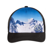 Load image into Gallery viewer, Quarantees signature Q in metallic silver on a unique mountain photo-real sublimated print trucker hat.