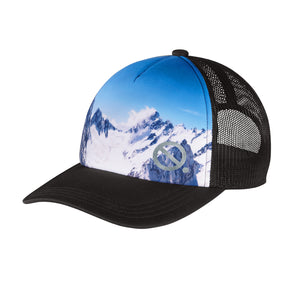 Quarantees signature Q in metallic silver on a unique mountain photo-real sublimated print trucker hat.