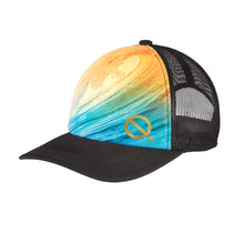 Load image into Gallery viewer, Quarantees signature Q in metallic gold on a unique ocean wave photo-real sublimated print trucker hat.