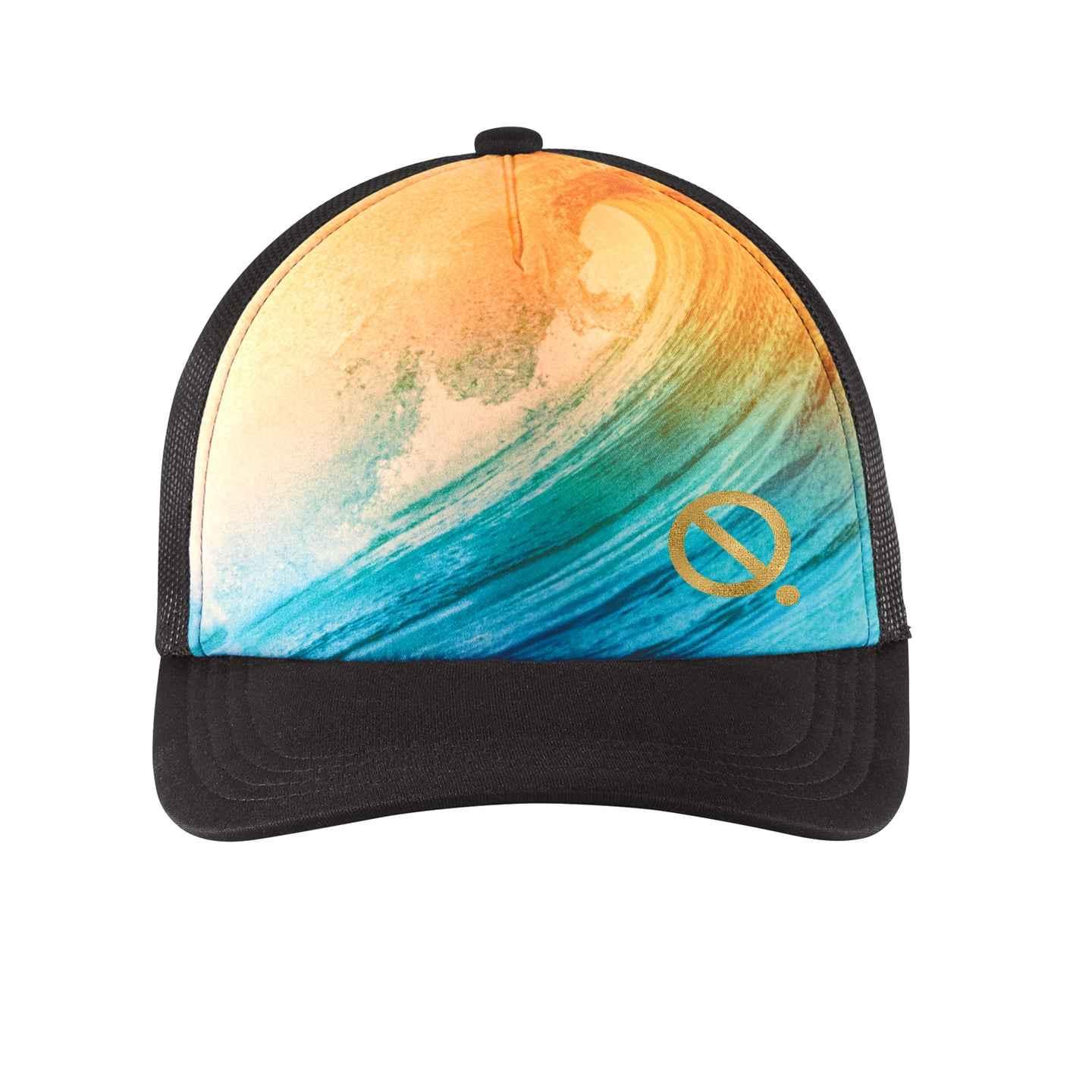 Quarantees signature Q in metallic gold on a unique ocean wave photo-real sublimated print trucker hat.