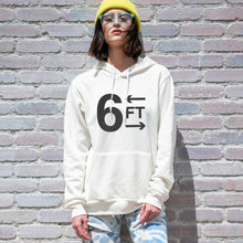 Load image into Gallery viewer, 6FT graphic is screenprinted in black on a comfy vintage white unisex pullover hooded sweatshirt.