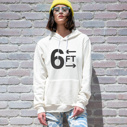 6FT graphic is screenprinted in black on a comfy vintage white unisex pullover hooded sweatshirt.