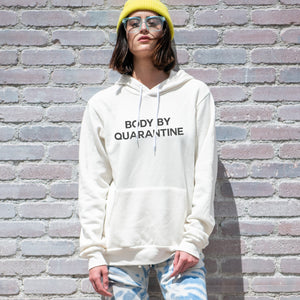 Body by Quarantine graphic screenprinted on a comfy vintage white unisex pullover hooded sweatshirt.