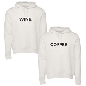 Set of two comfy vintage white unisex pullover hooded sweatshirts. Coffee screenprinted on the front of one, Wine screenprinted on the front of the other.