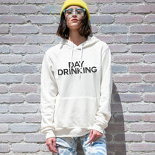 Load image into Gallery viewer, Day Drinking graphic screenprinted on a comfy vintage white unisex pullover hooded sweatshirt.