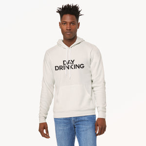 Day Drinking graphic screenprinted on a comfy vintage white unisex pullover hooded sweatshirt.